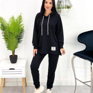 Купить выгодно черный женский спортивный костюм оверсайз (размер 42-52)