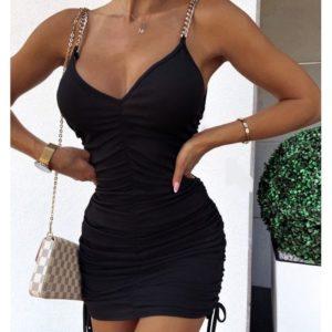 Заказать по скидке черное платье мини со стяжкой для женщин