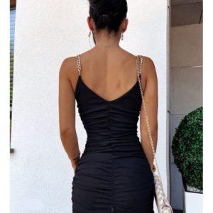 Приобрести черное женское платье мини со стяжкой выгодно