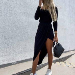 Заказать в интернете черное асимметричное платье из вискозы для женщин