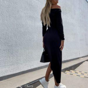 Приобрести черное женское асимметричное платье из вискозы онлайн