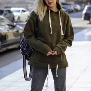 Купити онлайн жіноче тепле худі на флісі кольору хакі