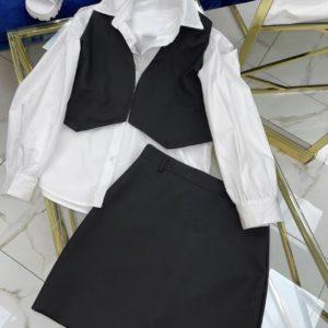 купить женский костюм тройку с рубашкой юбкой и жилеткой черного цвета недорого