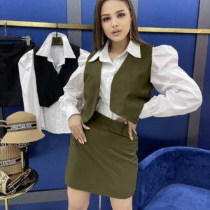 приобрести костюм женский рубашка+жилетка и юбка по акции в магазине Unimarket