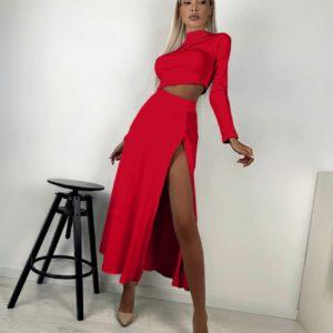 приобрести красный костюм женский с юбкой с разрезом на ноге + топ с длинным рукавом по выгодной стоимости