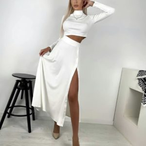 заказать белый женский костюм юбка + топ под горло белого цвета недорого онлайн