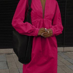 купить малиновое платье с V образным вырезом по лучшей цене от поставщика