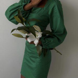 купить платье миди с длинным рукавом изумрудного цвета по низкой стоимости