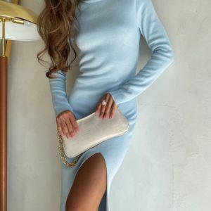 приобрести женское прогулочное платье нежно голубого цвета с длинным рукавом под горло недорого