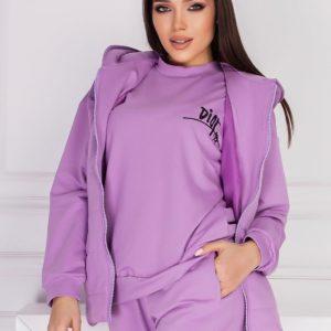 купить женский спортивный костюм тройку сиреневого цвета по акционной цене в магазине Unimarket