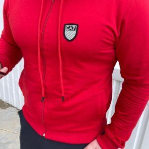 купити чоловічий костюм для спорту трійка штани + кофта червоного кольору за низькою ціною