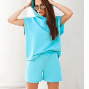 замовити жіночий літній костюм двійку з шортами і кофтою без рукавів за низькою ціною з доставкою