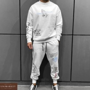 замовити чоловічий прогулянковий костюм з принтом білого кольору недорого по знижці
