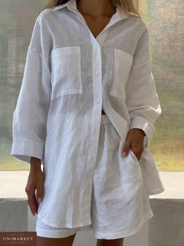 женский прогулочный костюм с рубашками с карманами и шортами белого цвета по акции