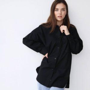 женские удлинённые рубашки черного цвета с длинным рукавом недорого с доставкой по Украине