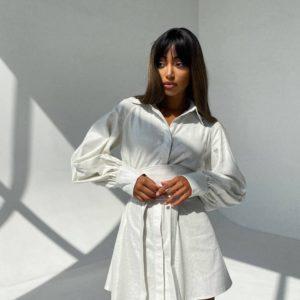 купить удлинённую женскую рубашку с поясом в комплекте недорого