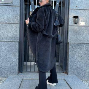 заказать осеннее женское пальто аль пака черного цвета недорого с доставкой