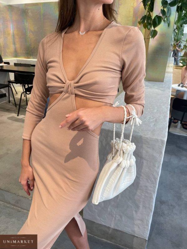 женское вечернее платье цвета кемел с декольте и голой талией по выгодной стоимости с доставкой по Украине