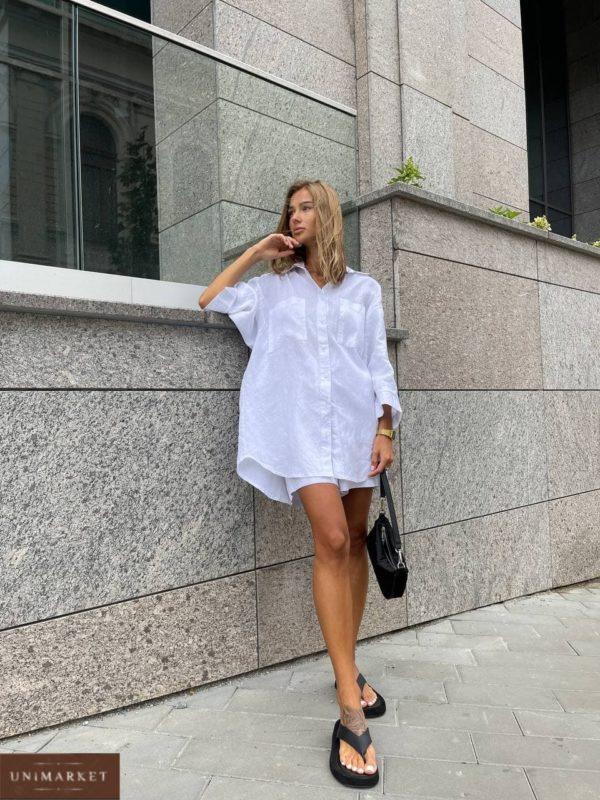 приобрести женский летний костюм из льна шорты и удлинённая рубашка белого цвета выгодно