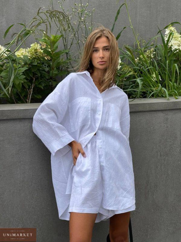 заказать прогулочный льняной костюм двойку с рубашкой и короткими шортами недорого с доставкой по Украине