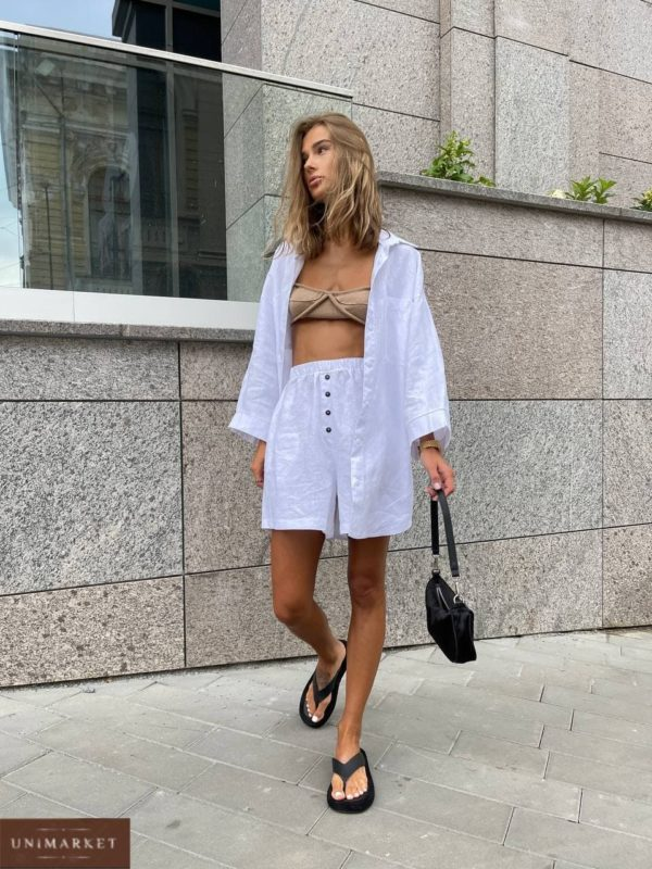 купить женский костюм льняной с шортами и рубашкой по выгодной цене в онлайн магазине