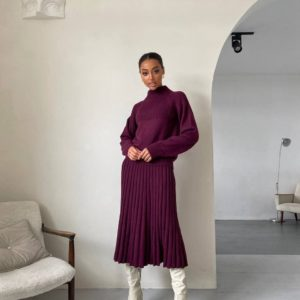 замовити жіночий костюм в'язаний спідниця + светр кольору бордо з швидкою доставкою по Україні
