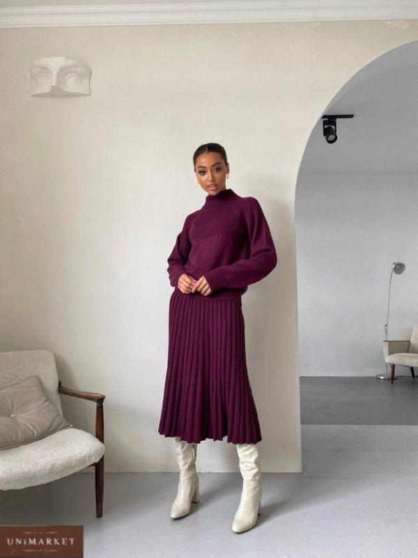 заказать женский костюм вязанный юбка + свитер цвета бордо с быстрой доставкой по Украине