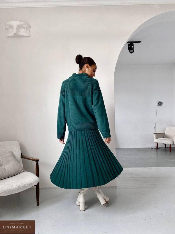 заказать вязанный женский костюм двойка с юбкой изумрудного цвета по выгодной стоимости онлайн