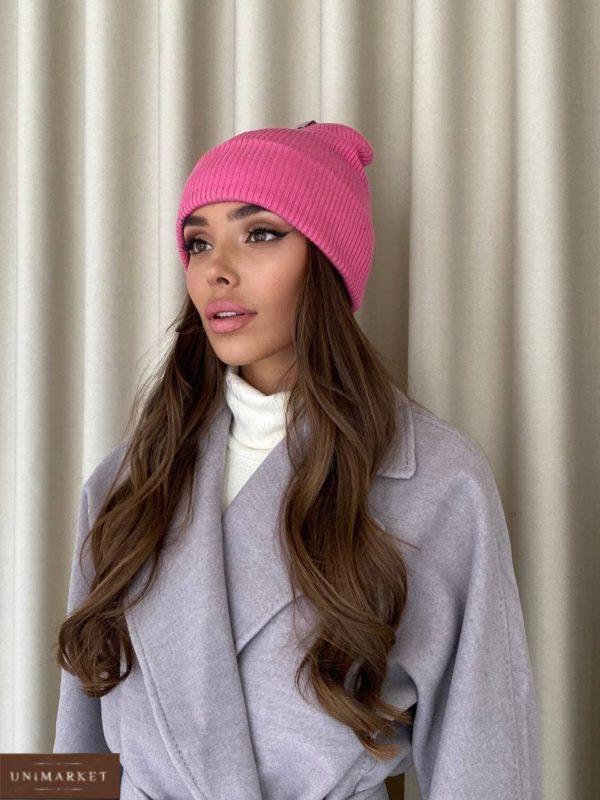 приобрести женскую шапку розового цвета из осенней коллекции в онлайн магазине