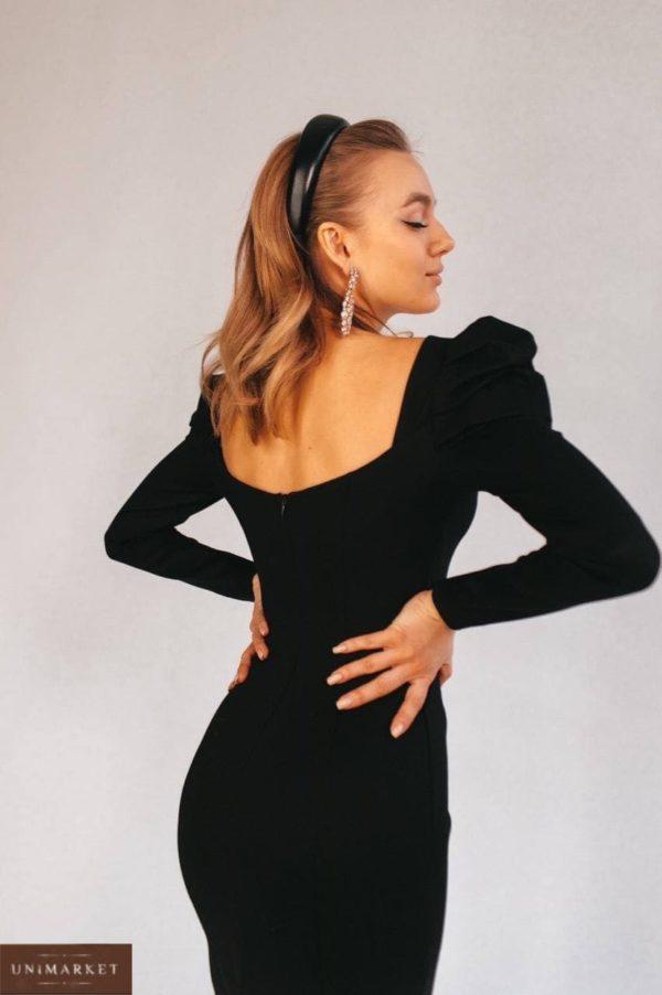 заказать длинное женское платье чёрного цвета с талией по скидочной цене