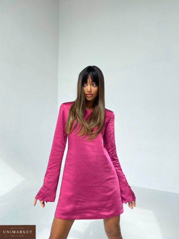 приобрести платье из шёлка малинового цвета по скидочной цене