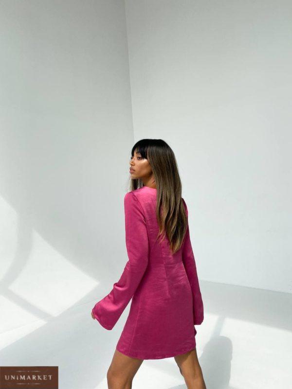 женское платье из шёлка с длинным рукавом цвета вишня недорого с доставкой