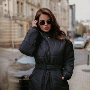 купити чорну жіночу куртку на синтепоні за доступною ціною