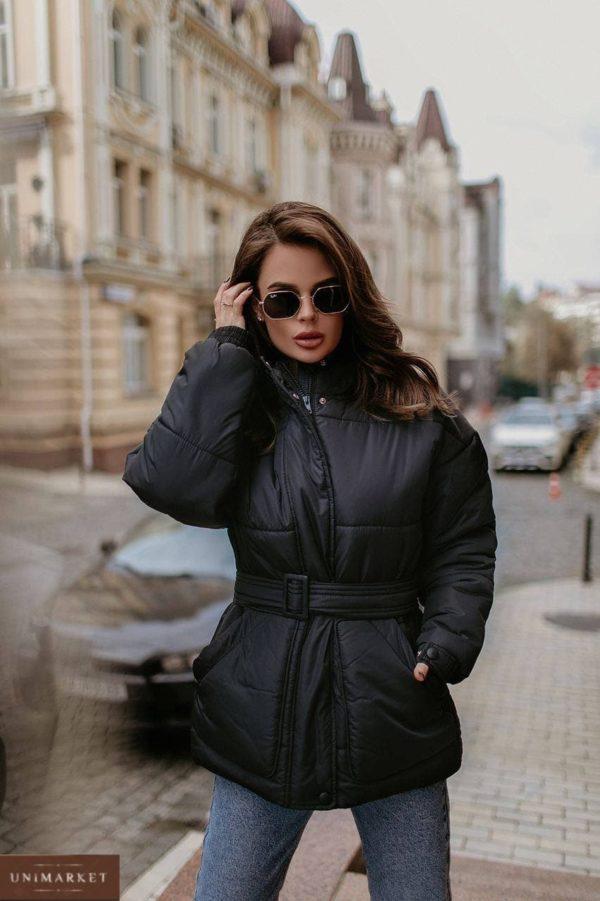 купить чёрную женскую куртку на синтепоне по доступной цене