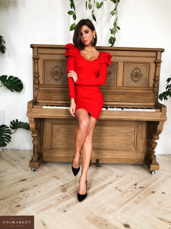 приобрести женское платье красного цвета короткое с талией по доступной стоимости