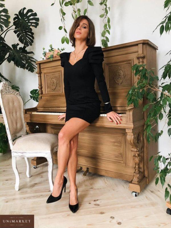 заказать черное приталенное платье короткое недорого с быстрой доставкой