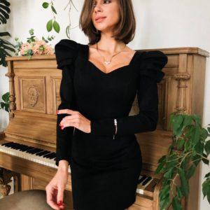 черное женское вечернее короткое платье с длинным рукавом по низкой цене