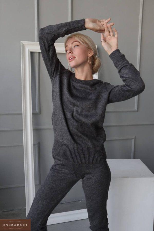 заказать осенний женский костюм с штанами к кофтой с длинным рукавом графитового цвета по скидке от Unimarket