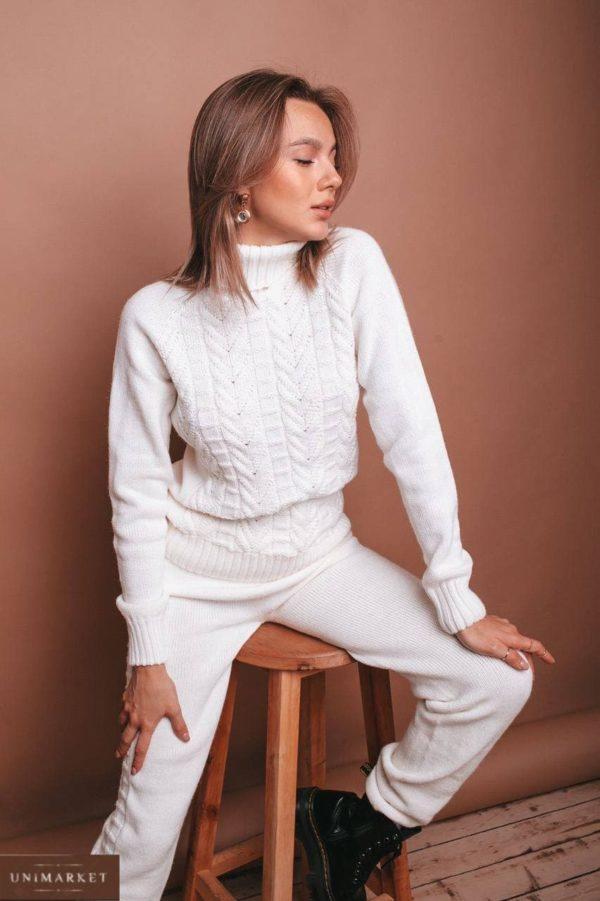 купить белый вязанный бесшовный женский костюм по выгодной цене