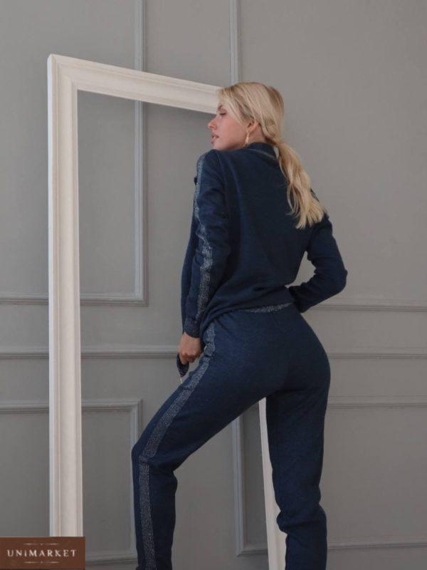 вязанный костюм осенний с кофтой и штанами джинсового цвета по низкой стоимости