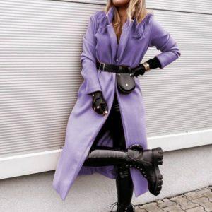 женский осенний блейзер длинный лилового цвета с чёрным поясом по выгодной стоимости с доставкой