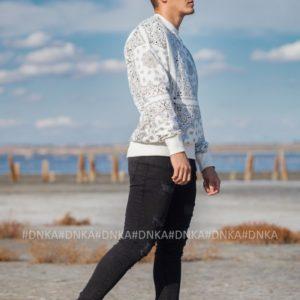 Купить выгодно мужской свободный свитшот с принтом (размер 48-56) белый