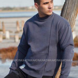 Купить мужской серый свитшот с начесом (размер 48-54) онлайн