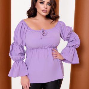 Заказать лиловую женскую блузку с рукавами-фонариками (размер 42-64) по скидке