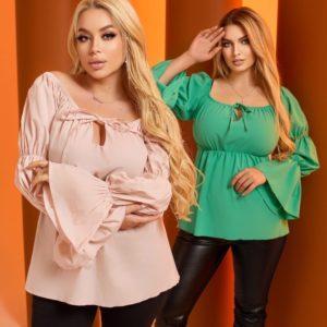 Купить зеленую, беж женскую блузку с рукавами-фонариками (размер 42-64) выгодно