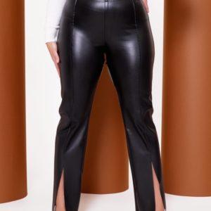 Заказать черные женские брюки из экокожи на меху (размер 42-64) онлайн
