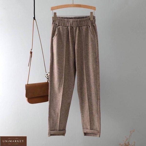 Заказать беж женские брюки из шерстяного твида (размер 42-52) по скидке