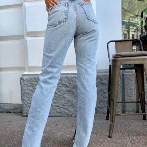 Замовити на розпродажі жіночі джинси прямого крою на високій талії блакитні