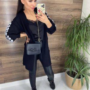 Замовити чорний кардиган з декоративною стрічкою для жінок онлайн