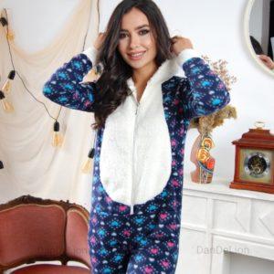 Заказать синего цвета женский плюшевый комбинезон с капюшоном (размер 42-50) в Украине